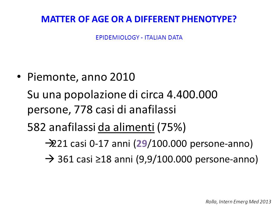 MATTER OF AGE OR A DIFFERENT PHENOTYPE.