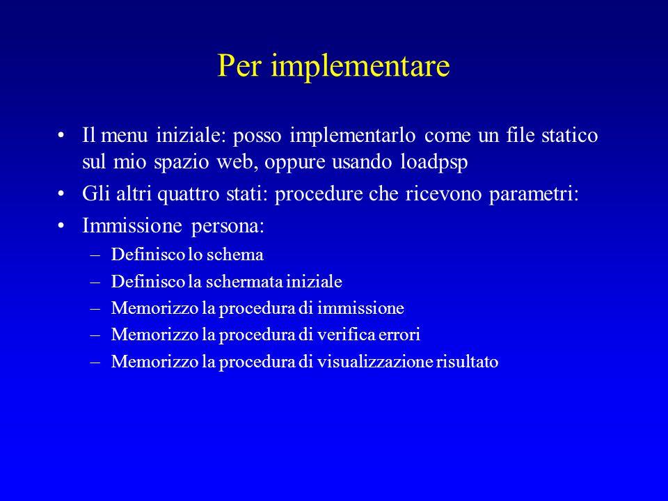Definizione dello schema Creo una directory ~/ese1 Copio nella directory tutti i files che trovo in Risorse del Corso->Materiale per gli esercizi->ese1 )ovvero in http://tql.di.unipi.it/bdl03/esercizi/ese1/), oppure in ~ghelli/bdl03/ese1 Mi connetto a orcl.oracle1 via SqlPlus Worksheet: –start – programs - oracle – database administration – sqlplus worksheet –Oppure, da command line: oracle/ora90/bin/oemapp.bat worksheet –Specificare nome utente di Oracle e password per orcl.oracle1; –Service: orcl.oracle1 Anziché orcl.oracle1 (oracle1.cli.di.unipi.it) posso usare oracledb.datatop (datatop.di.unipi.it)