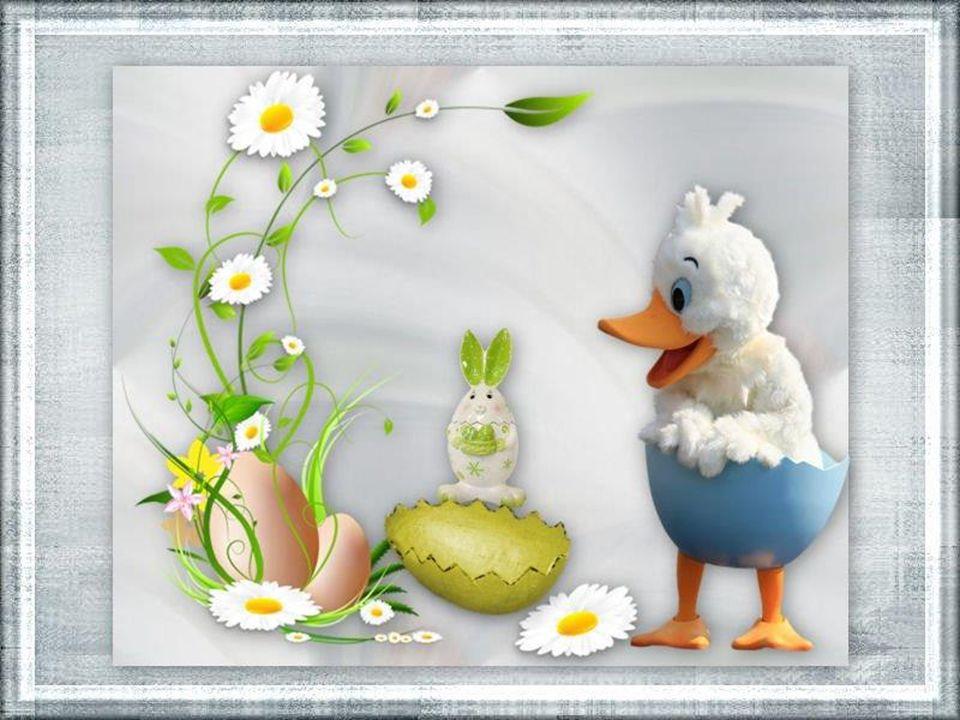 """Dall'uovo di Pasqua è uscito un pulcino di gesso arancione, col becco turchino. Ha detto: """"Vado, mi metto in viaggio e porto a tutti un grande messagg"""