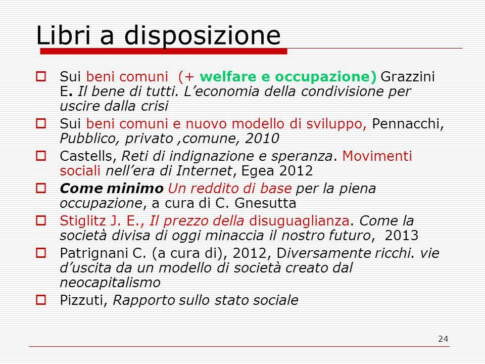 24 Libri a disposizione  Sui beni comuni (+ welfare e occupazione) Grazzini E.