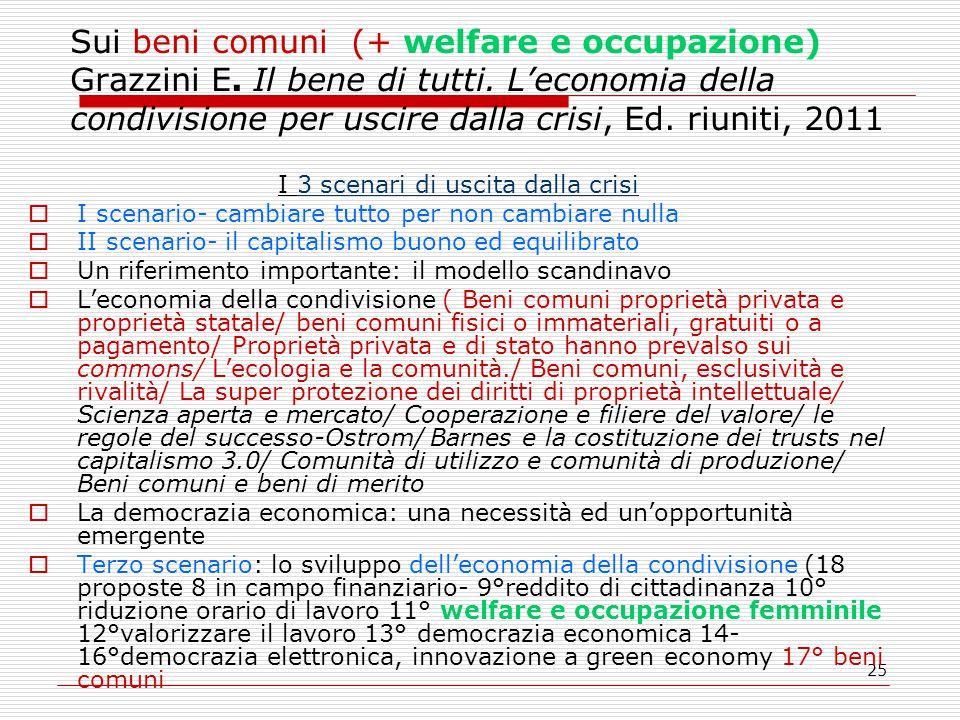25 Sui beni comuni (+ welfare e occupazione) Grazzini E.