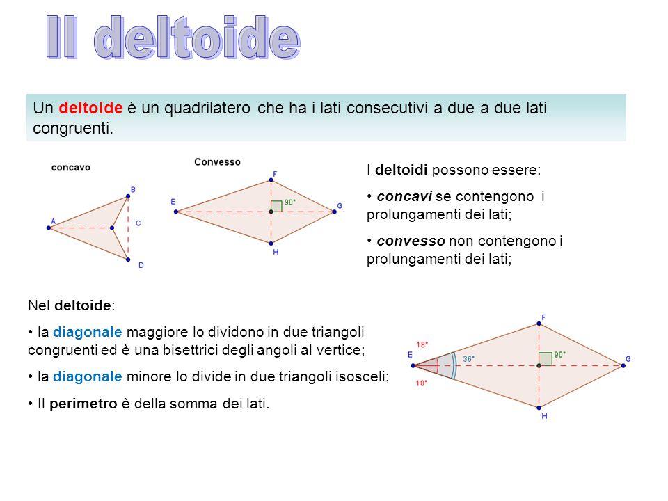 Un deltoide è un quadrilatero che ha i lati consecutivi a due a due lati congruenti. I deltoidi possono essere: concavi se contengono i prolungamenti
