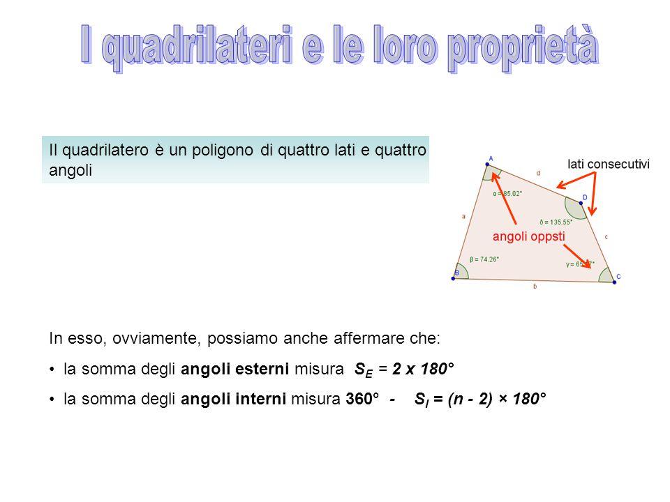 Il quadrilatero è un poligono di quattro lati e quattro angoli In esso, ovviamente, possiamo anche affermare che: la somma degli angoli esterni misura S E = 2 x 180° la somma degli angoli interni misura 360° - S I = (n - 2) × 180°