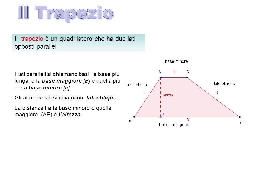 Il trapezio è un quadrilatero che ha due lati opposti paralleli I lati paralleli si chiamano basi: la base più lunga è la base maggiore [B] e quella p