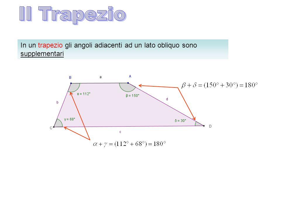In un trapezio gli angoli adiacenti ad un lato obliquo sono supplementari