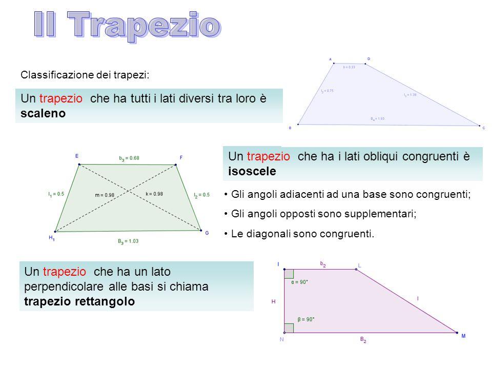 Classificazione dei trapezi: Un trapezio che ha i lati obliqui congruenti è isoscele Gli angoli adiacenti ad una base sono congruenti; Gli angoli opposti sono supplementari; Le diagonali sono congruenti.