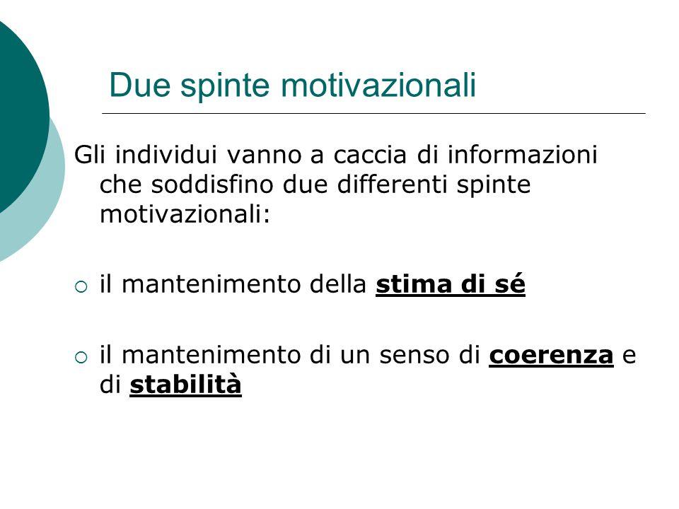 Due spinte motivazionali Gli individui vanno a caccia di informazioni che soddisfino due differenti spinte motivazionali:  il mantenimento della stim