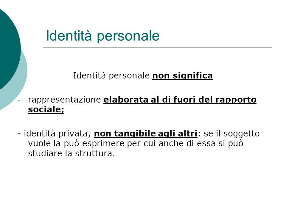 Identità personale Identità personale non significa - rappresentazione elaborata al di fuori del rapporto sociale; - identità privata, non tangibile a