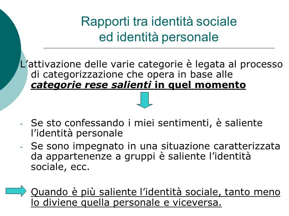Rapporti tra identità sociale ed identità personale L'attivazione delle varie categorie è legata al processo di categorizzazione che opera in base all