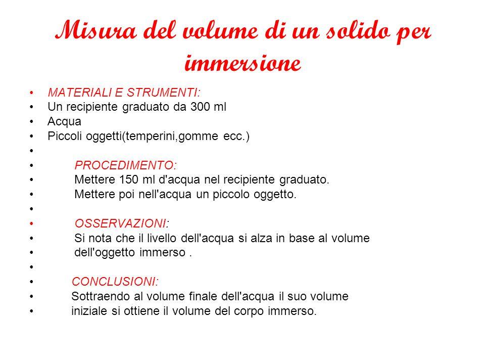 Misura del volume di un solido per immersione MATERIALI E STRUMENTI: Un recipiente graduato da 300 ml Acqua Piccoli oggetti(temperini,gomme ecc.) PROC