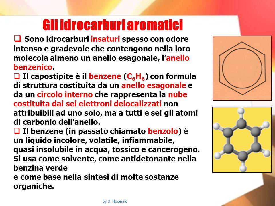 Gli idrocarburi aromatici  Sono idrocarburi insaturi spesso con odore intenso e gradevole che contengono nella loro molecola almeno un anello esagona