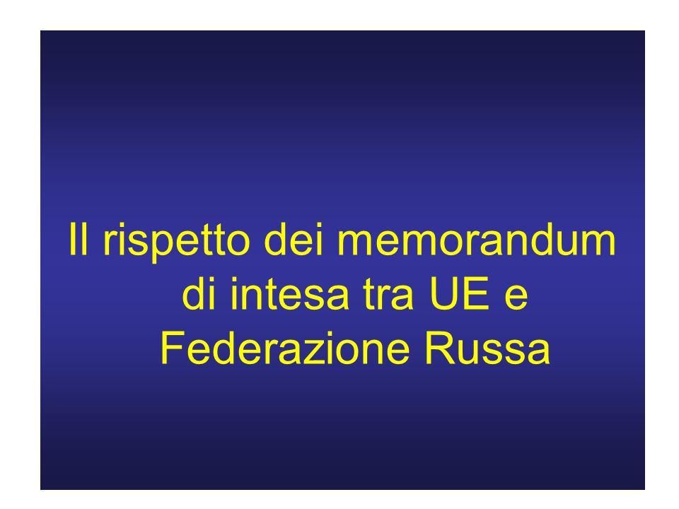 Il rispetto dei memorandum di intesa tra UE e Federazione Russa