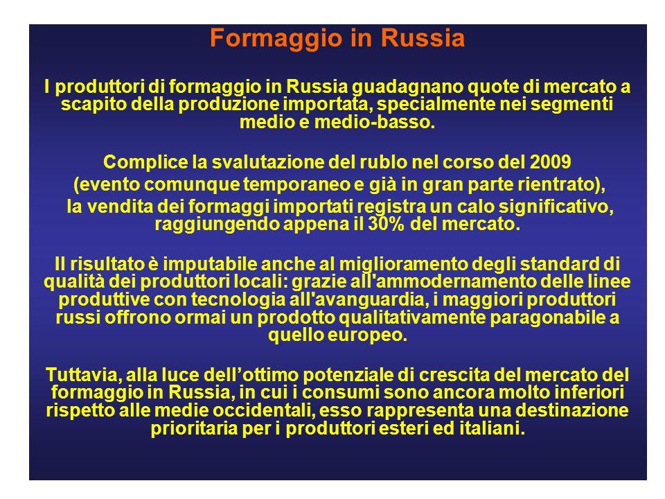 Formaggio in Russia I produttori di formaggio in Russia guadagnano quote di mercato a scapito della produzione importata, specialmente nei segmenti medio e medio-basso.