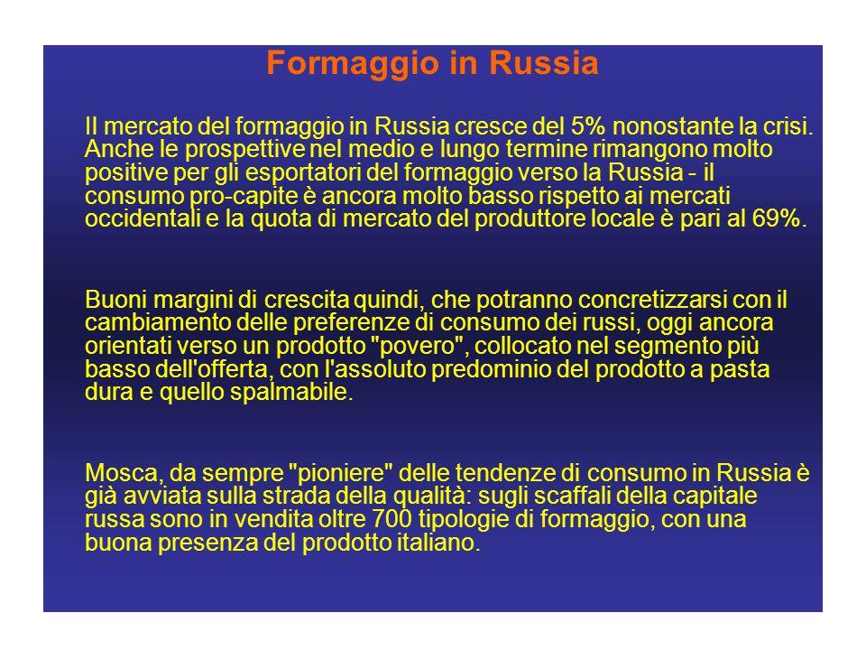 Formaggio in Russia Il mercato del formaggio in Russia cresce del 5% nonostante la crisi.