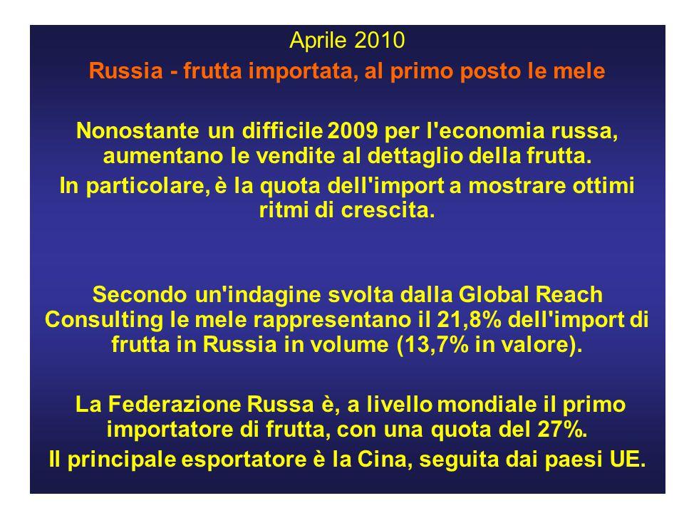 Aprile 2010 Russia - frutta importata, al primo posto le mele Nonostante un difficile 2009 per l economia russa, aumentano le vendite al dettaglio della frutta.