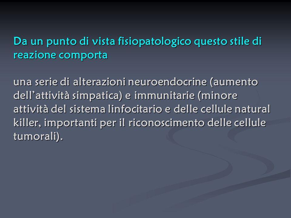 Da un punto di vista fisiopatologico questo stile di reazione comporta una serie di alterazioni neuroendocrine (aumento dell'attività simpatica) e imm