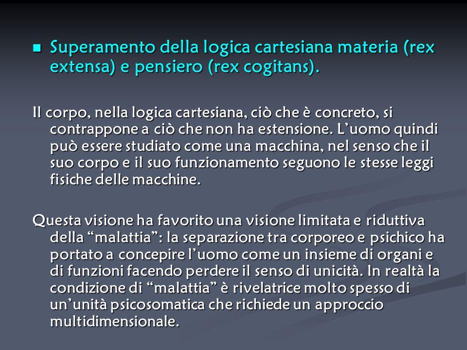 Superamento della logica cartesiana materia (rex extensa) e pensiero (rex cogitans). Superamento della logica cartesiana materia (rex extensa) e pensi