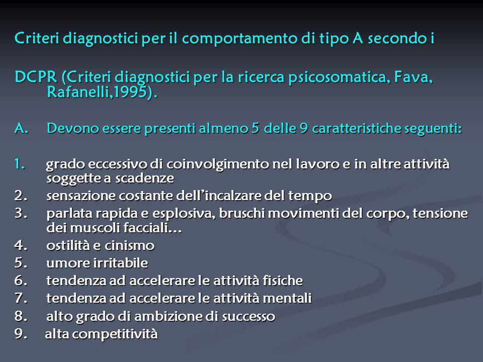 Criteri diagnostici per il comportamento di tipo A secondo i DCPR (Criteri diagnostici per la ricerca psicosomatica, Fava, Rafanelli,1995). A. Devono