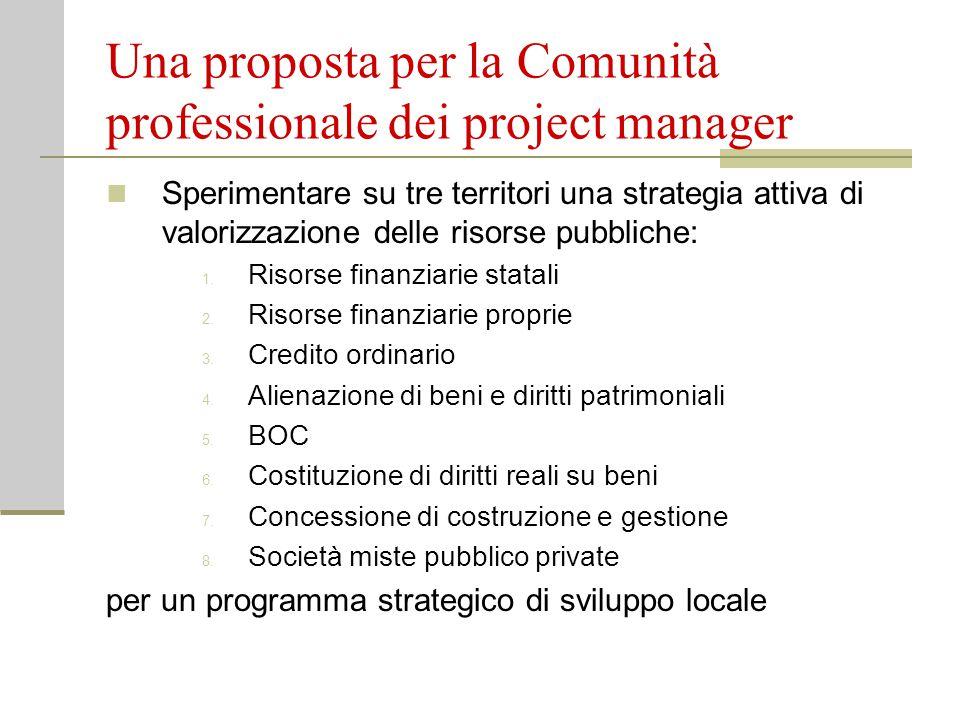 Una proposta per la Comunità professionale dei project manager Sperimentare su tre territori una strategia attiva di valorizzazione delle risorse pubbliche: 1.