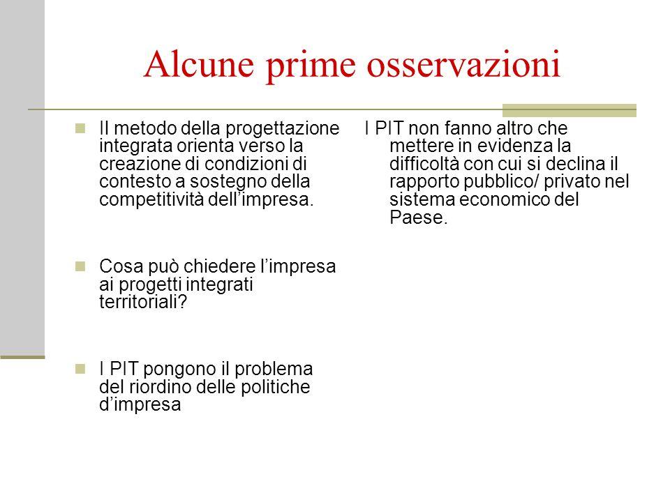 Il punto di vista dell'imprenditoria Le condizioni positive che possono derivare dal metodo della progettazione integrata territoriale 1.