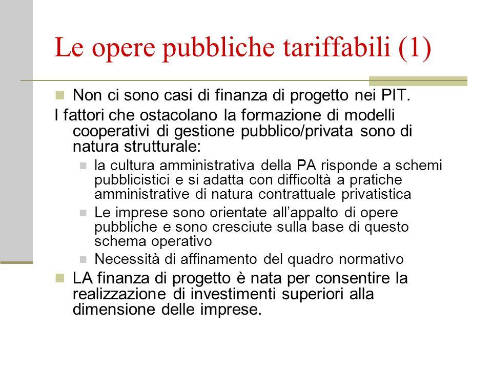 Le opere pubbliche tariffabili (1) Non ci sono casi di finanza di progetto nei PIT.