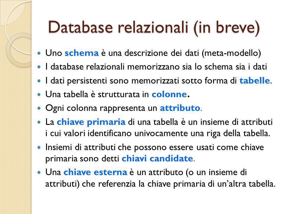 Uno schema è una descrizione dei dati (meta-modello) I database relazionali memorizzano sia lo schema sia i dati I dati persistenti sono memorizzati sotto forma di tabelle.