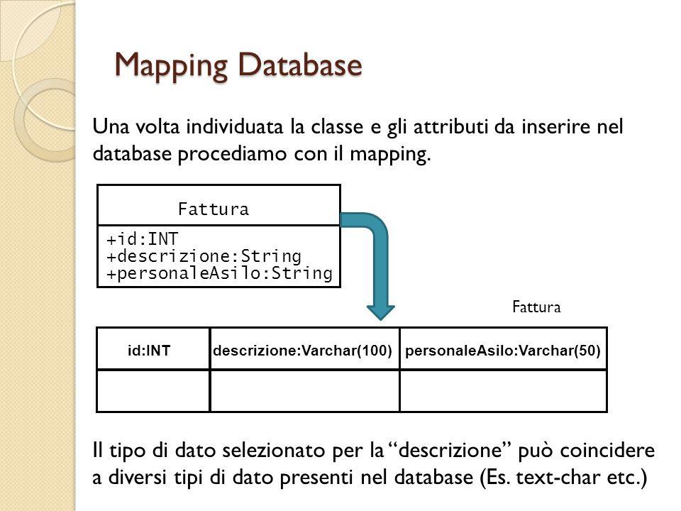Mapping Database Una volta individuata la classe e gli attributi da inserire nel database procediamo con il mapping. Il tipo di dato selezionato per l