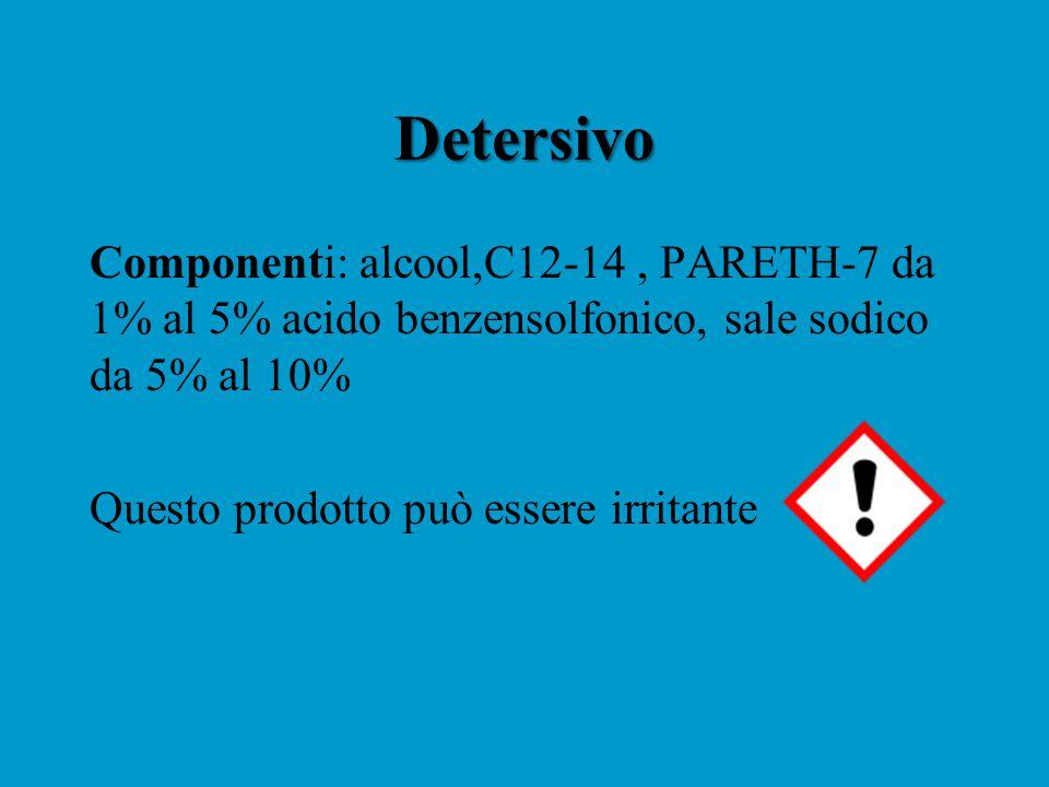 Detersivo Componenti: alcool,C12-14, PARETH-7 da 1% al 5% acido benzensolfonico, sale sodico da 5% al 10% Questo prodotto può essere irritante
