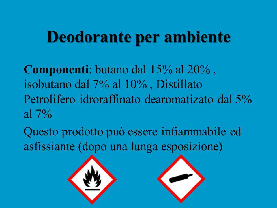 Deodorante per ambiente Componenti: butano dal 15% al 20%, isobutano dal 7% al 10%, Distillato Petrolifero idroraffinato dearomatizato dal 5% al 7% Questo prodotto può essere infiammabile ed asfissiante (dopo una lunga esposizione)