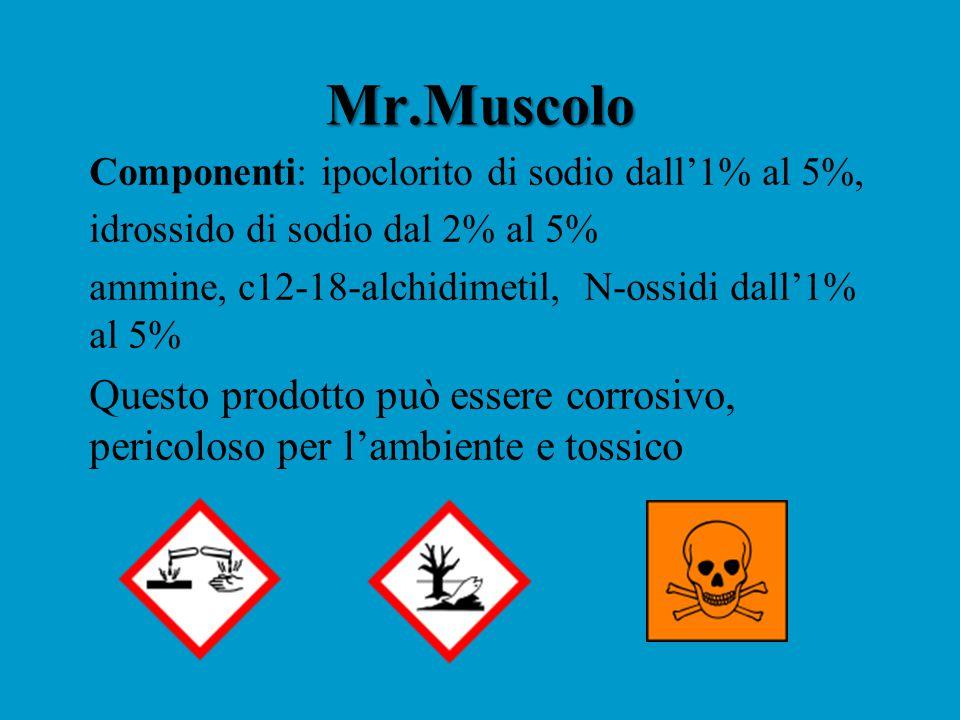 Mr.Muscolo Componenti: ipoclorito di sodio dall'1% al 5%, idrossido di sodio dal 2% al 5% ammine, c12-18-alchidimetil, N-ossidi dall'1% al 5% Questo prodotto può essere corrosivo, pericoloso per l'ambiente e tossico