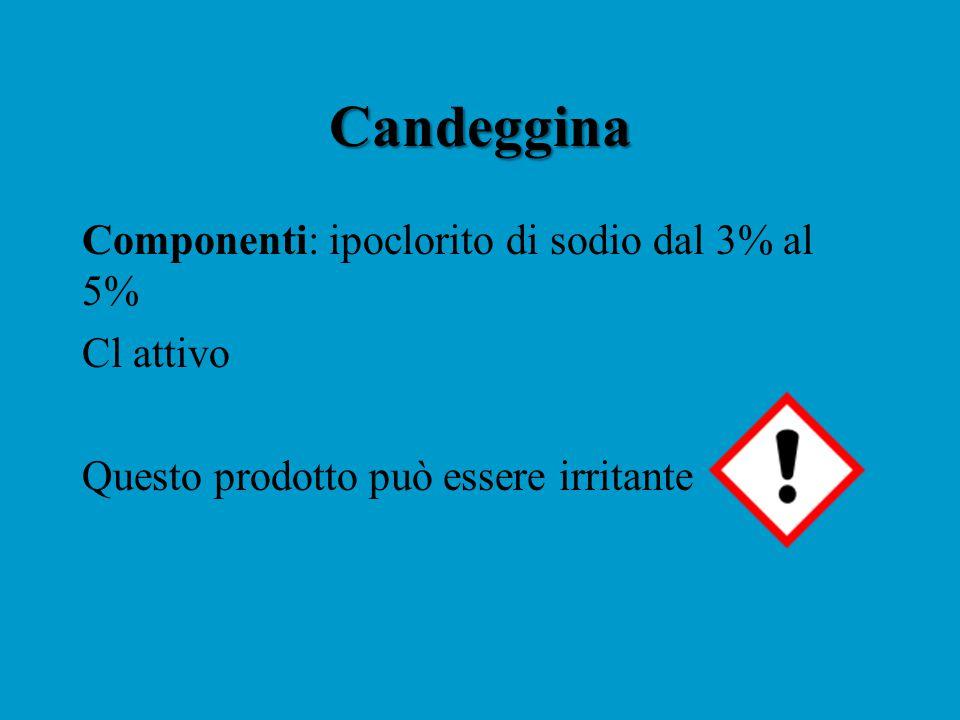 Candeggina Componenti: ipoclorito di sodio dal 3% al 5% Cl attivo Questo prodotto può essere irritante
