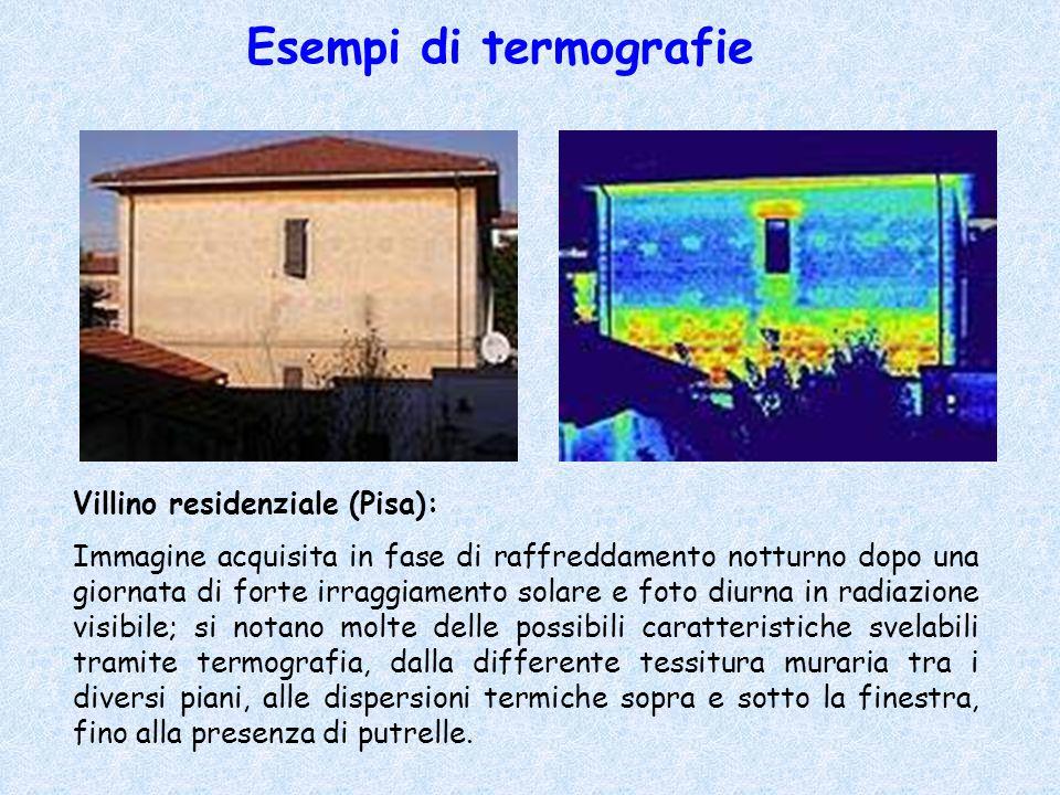 Esempi di termografie Villino residenziale (Pisa): Immagine acquisita in fase di raffreddamento notturno dopo una giornata di forte irraggiamento sola
