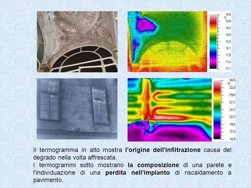 Il termogramma in alto mostra l'origine dell'infiltrazione causa del degrado nella volta affrescata. I termogrammi sotto mostrano la composizione di u