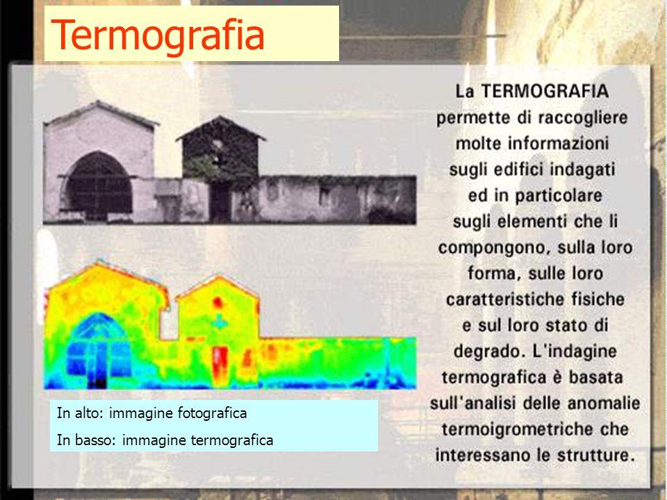 In alto: immagine fotografica In basso: immagine termografica