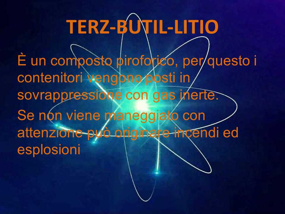 TERZ-BUTIL-LITIO È un composto piroforico, per questo i contenitori vengono posti in sovrappressione con gas inerte.