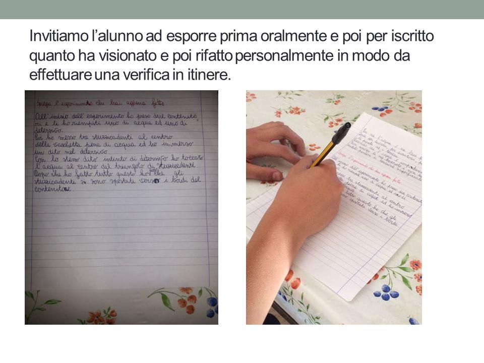 Invitiamo l'alunno ad esporre prima oralmente e poi per iscritto quanto ha visionato e poi rifatto personalmente in modo da effettuare una verifica in itinere.