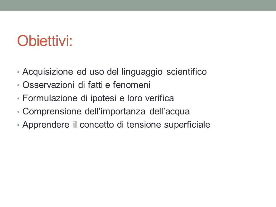 Obiettivi: Acquisizione ed uso del linguaggio scientifico Osservazioni di fatti e fenomeni Formulazione di ipotesi e loro verifica Comprensione dell'i