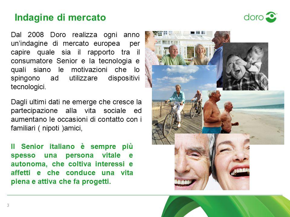 Indagine di mercato 3 Dal 2008 Doro realizza ogni anno un'indagine di mercato europea per capire quale sia il rapporto tra il consumatore Senior e la