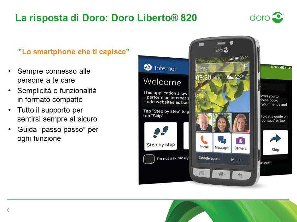 La risposta di Doro: Doro Liberto® 820 6 Sempre connesso alle persone a te care Semplicità e funzionalità in formato compatto Tutto il supporto per se