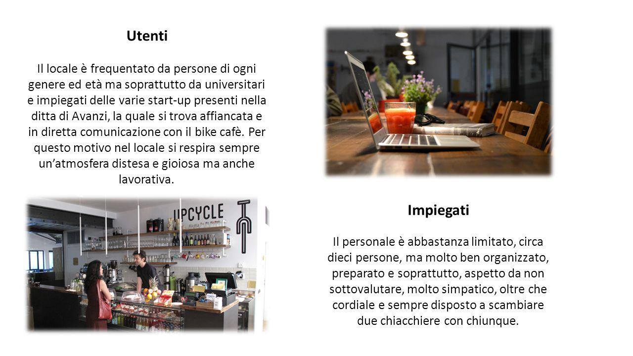 Utenti Il locale è frequentato da persone di ogni genere ed età ma soprattutto da universitari e impiegati delle varie start-up presenti nella ditta di Avanzi, la quale si trova affiancata e in diretta comunicazione con il bike cafè.