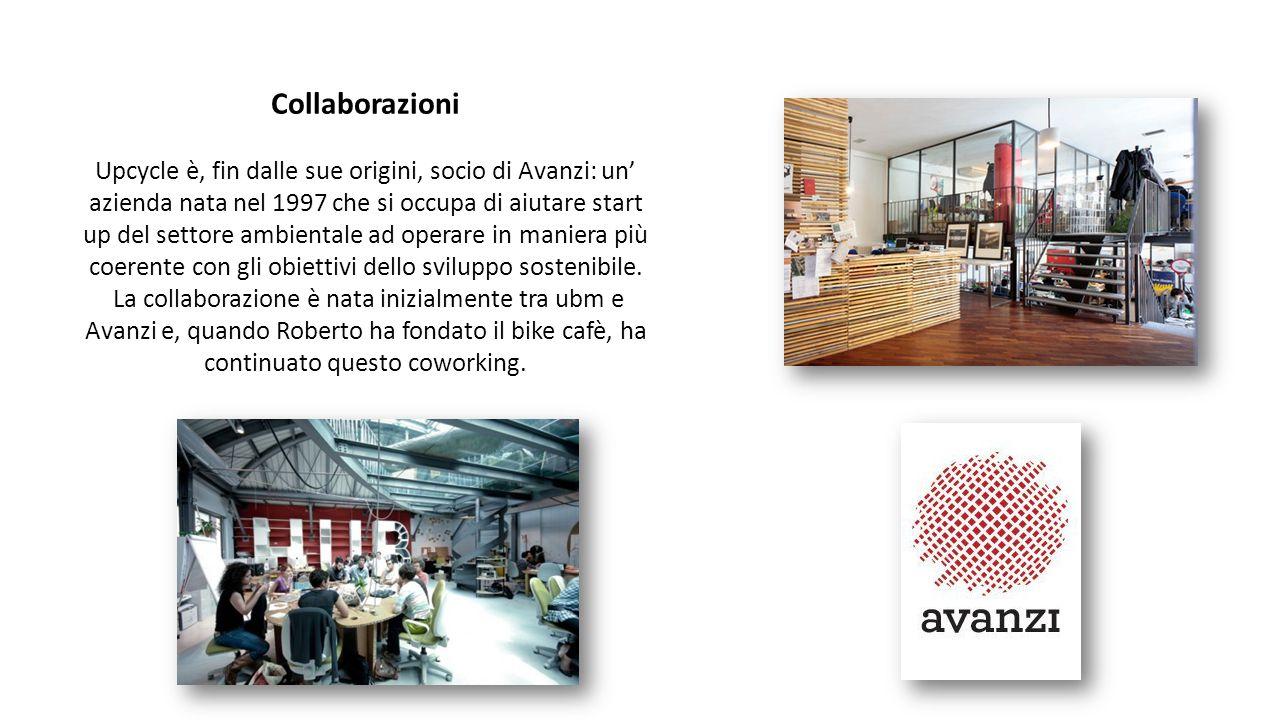 Collaborazioni Upcycle è, fin dalle sue origini, socio di Avanzi: un' azienda nata nel 1997 che si occupa di aiutare start up del settore ambientale a