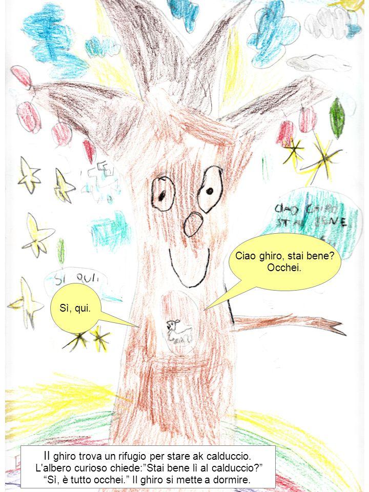 """Ciao ghiro, stai bene? Occhei. Sì, qui. Il ghiro trova un rifugio per stare ak calduccio. L'albero curioso chiede:""""Stai bene lì al calduccio?"""" """"Sì, è"""