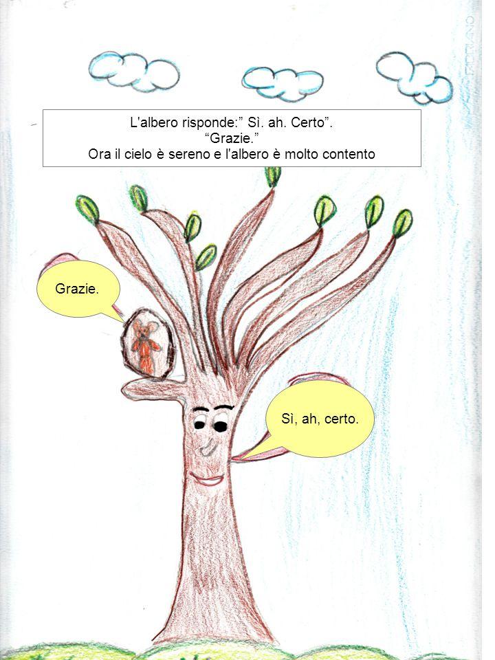 """Grazie. Sì, ah, certo. L'albero risponde:"""" Sì. ah. Certo"""". """"Grazie."""" Ora il cielo è sereno e l'albero è molto contento"""