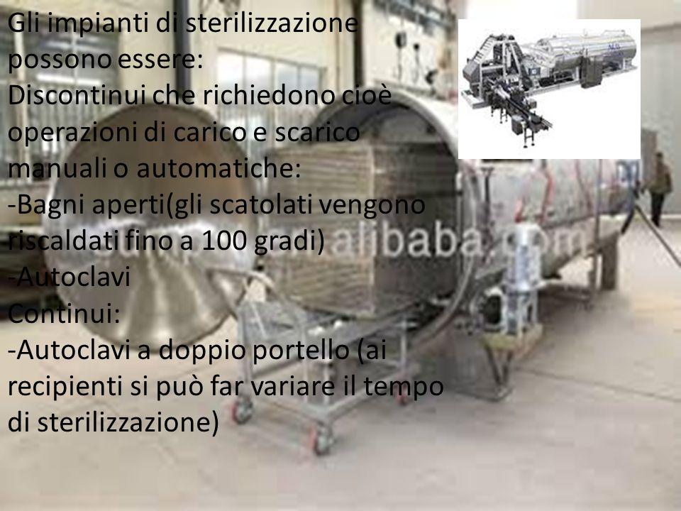 Gli impianti di sterilizzazione possono essere: Discontinui che richiedono cioè operazioni di carico e scarico manuali o automatiche: -Bagni aperti(gl