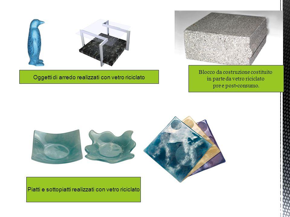 Blocco da costruzione costituito in parte da vetro riciclato pre e post-consumo. Oggetti di arredo realizzati con vetro riciclato Piatti e sottopiatti