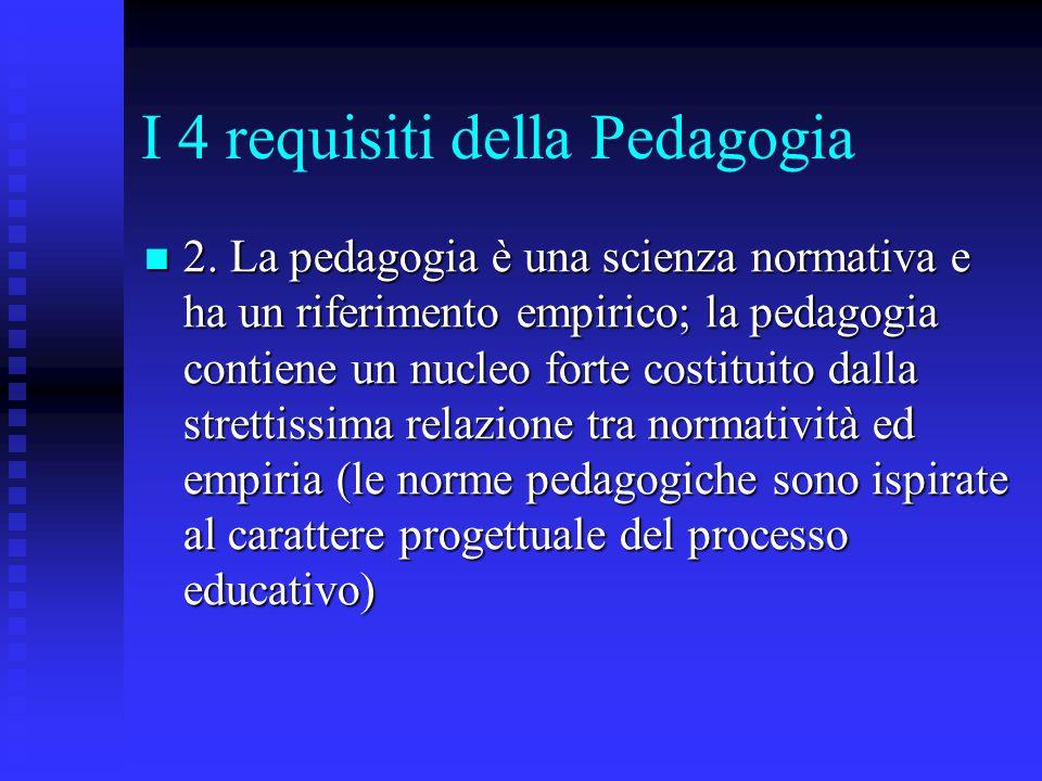 I 4 requisiti della Pedagogia 2. La pedagogia è una scienza normativa e ha un riferimento empirico; la pedagogia contiene un nucleo forte costituito d