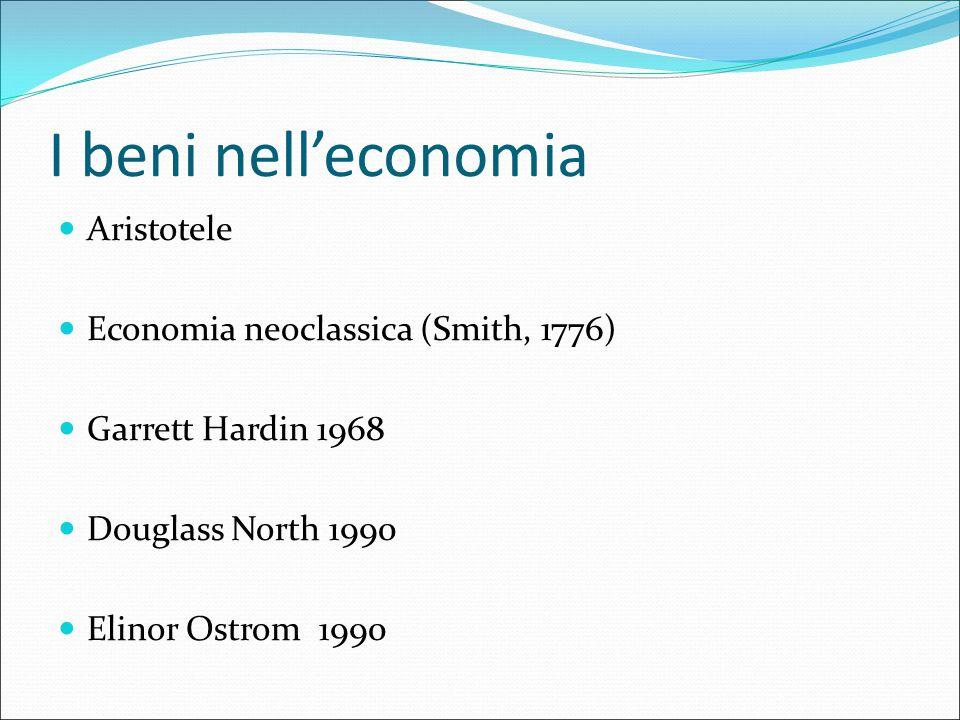 I beni nell'economia Aristotele Economia neoclassica (Smith, 1776) Garrett Hardin 1968 Douglass North 1990 Elinor Ostrom 1990