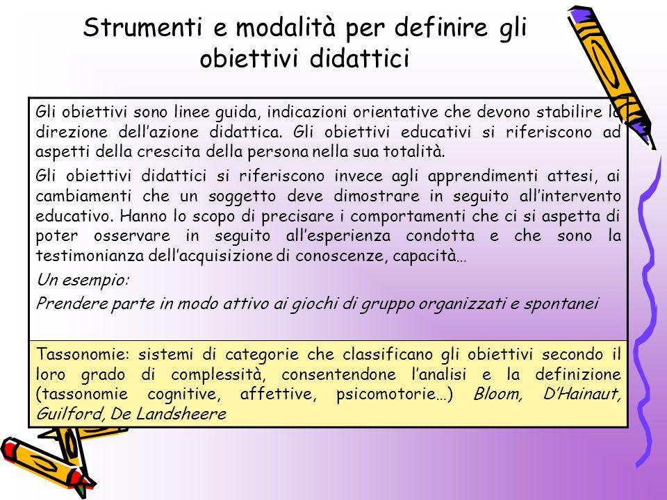 Strumenti e modalità per definire gli obiettivi didattici Gli obiettivi sono linee guida, indicazioni orientative che devono stabilire la direzione dell'azione didattica.