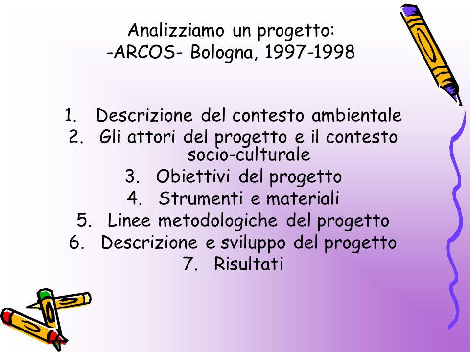 Analizziamo un progetto: -ARCOS- Bologna, 1997-1998 1.Descrizione del contesto ambientale 2.Gli attori del progetto e il contesto socio-culturale 3.Obiettivi del progetto 4.Strumenti e materiali 5.Linee metodologiche del progetto 6.Descrizione e sviluppo del progetto 7.Risultati