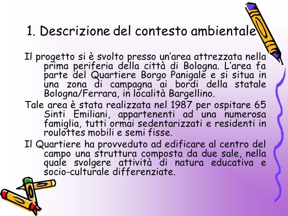 1. Descrizione del contesto ambientale Il progetto si è svolto presso un'area attrezzata nella prima periferia della città di Bologna. L'area fa parte